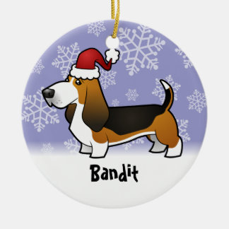 Christmas Basset Hound (add your pets name) Ceramic Ornament