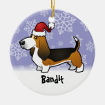 Christmas Basset Hound (add your pets name) Double-Sided Ceramic Round Christmas Ornament