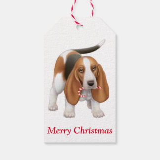 Christmas Basset Hound Dog Gift Tags Pack Of Gift Tags