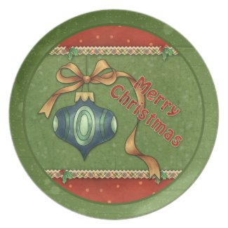 Christmas Bauble and bow plate