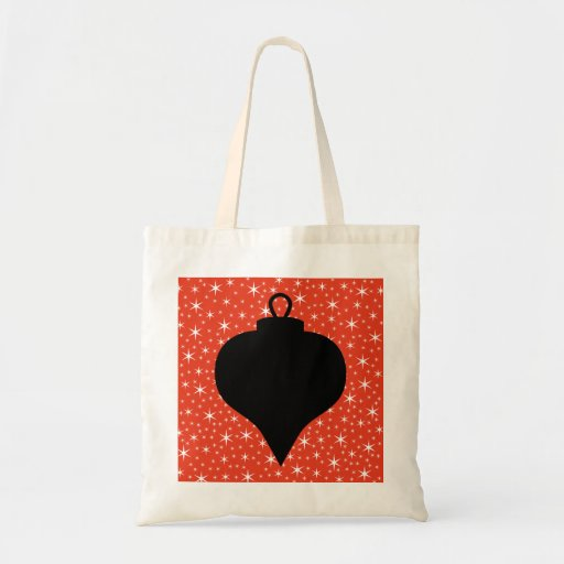 Christmas Bauble Design in Black, Red and White. Bag