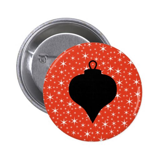 Christmas Bauble Design in Black, Red and White. Pinback Button