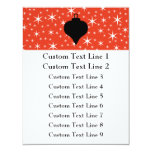 Christmas Bauble Design in Black, Red and White. 4.25x5.5 Paper Invitation Card