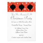 Christmas Bauble Design in Black, Red and White. Custom Invitation