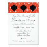 Christmas Bauble Design in Black, Red and White. 5x7 Paper Invitation Card