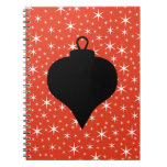 Christmas Bauble Design in Black, Red and White. Notebooks