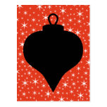 Christmas Bauble Design in Black, Red and White. Postcard