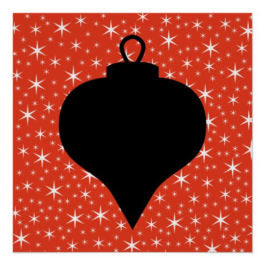 Christmas Bauble Design in Black, Red and White. Poster
