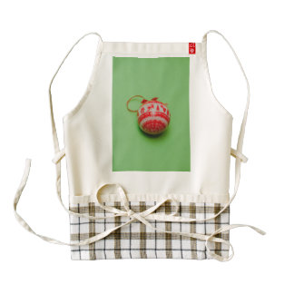 Christmas bauble on a green background zazzle HEART apron
