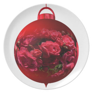 Christmas bauble red roses party plate