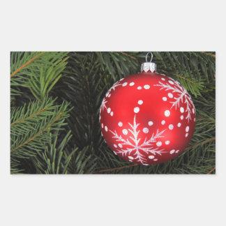 Christmas bauble rectangular stickers