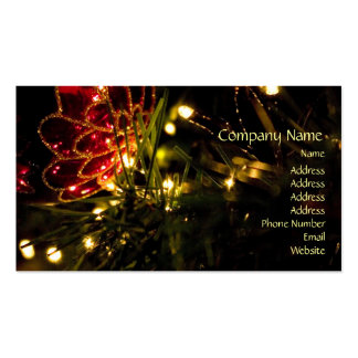 Christmas Bauble with Fairy Lights Business Card Template