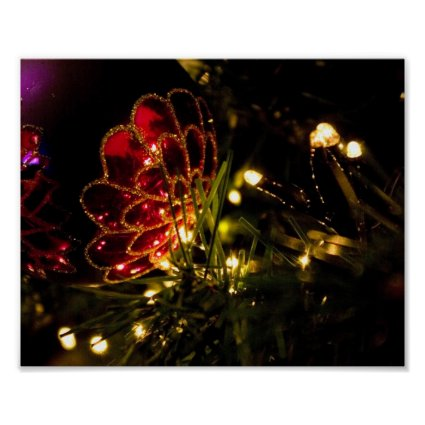 Christmas Bauble with Fairy Lights Posters