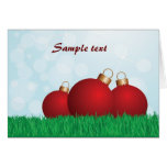 christmas baubles and nature greeting card