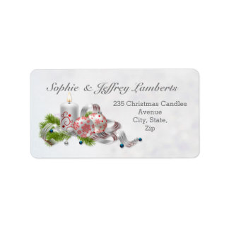 Christmas baubles, candle, pine label