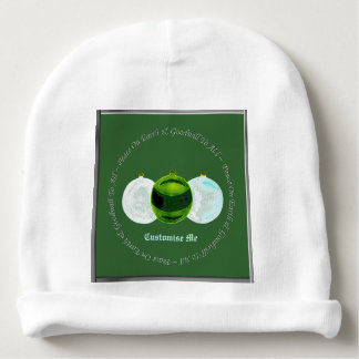 Christmas Baubles (Frosted White/Green) Baby Beanie