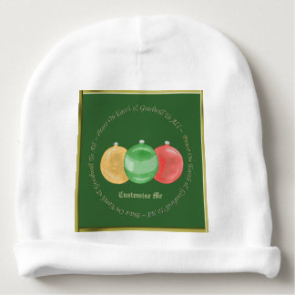 Christmas Baubles (Gold/Green/Red) Baby Beanie