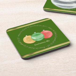 Christmas Baubles (Gold/Green/Red) Coaster