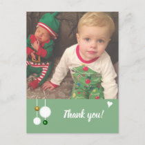 Christmas baubles green Thank you photo Announcement Postcard
