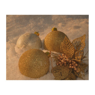 Christmas baubles in the snow cork paper print