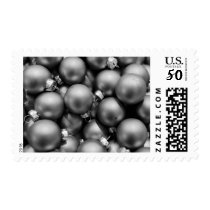Christmas Baubles Retro Black and White Postage