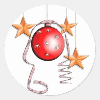Christmas Baubles & Stars Round Sticker