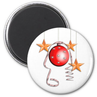 Christmas Baubles, Stars & Tinsel 2 Inch Round Magnet