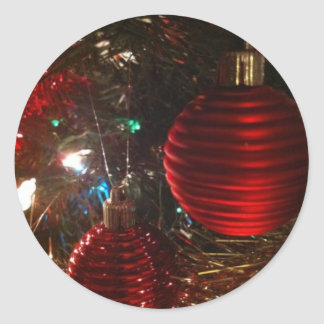 Christmas Baubles Round Stickers