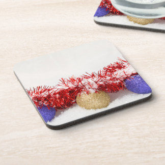 Christmas Baubles Tinsel and Snow Drink Coaster