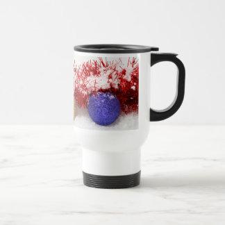 Christmas Baubles Tinsel and Snow Travel Mug