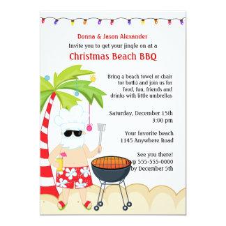 """Christmas BBQ on the Beach 5"""" X 7"""" Invitation Card"""