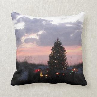 Christmas Beach and Sunset Throw Pillow