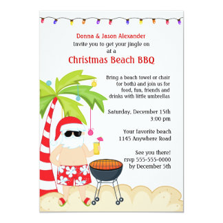 Christmas Beach BBQ 5x7 Paper Invitation Card