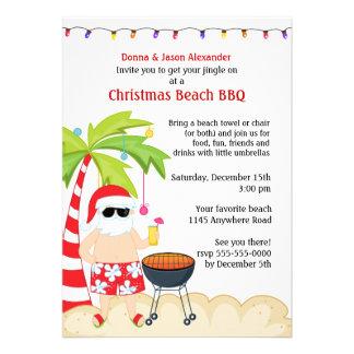 Christmas Beach BBQ Custom Invitations