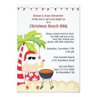 "Christmas Beach BBQ 5"" X 7"" Invitation Card"