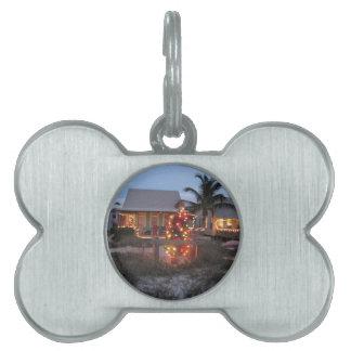 Christmas Beach Cottage Pet Name Tag