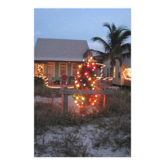 Christmas Beach Cottage Personalized Stationery