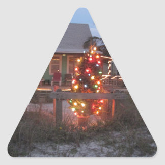 Christmas Beach Cottage Triangle Sticker
