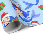 """Christmas Beach mermaids dolphins Wrapping Paper<br><div class=""""desc"""">design by www.etsy.com/Shop/KidIlustrationDesign</div>"""