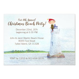 Christmas Beach Party Watercolor Lighthouse Card