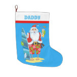 Christmas beach Santa Holiday add text stocking