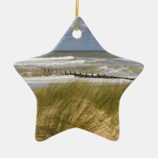 Christmas beach scene ceramic ornament
