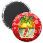 Christmas Beach Sunset 2 Inch Round Magnet