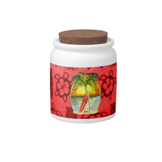 Christmas Beach Sunset Candy Jar