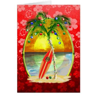 Christmas Beach Sunset Greeting Cards