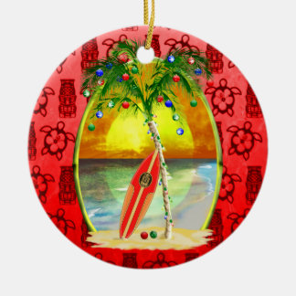 Christmas Beach Sunset Ceramic Ornament