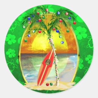 Christmas Beach Sunset Classic Round Sticker