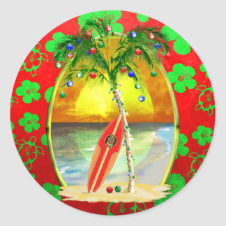 Christmas Beach Sunset Classic Round Sticker