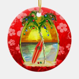 Christmas Beach Sunset Double-Sided Ceramic Round Christmas Ornament