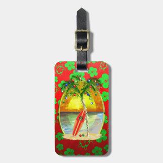 Christmas Beach Sunset Luggage Tag